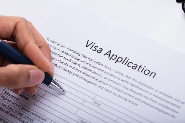 ビザ申請書記入