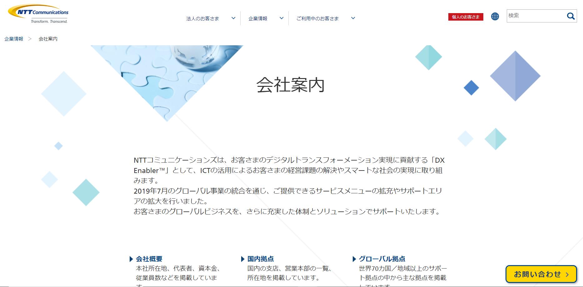 NTT ホームページ